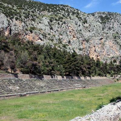 Das riesige Stadion von Delphi ...