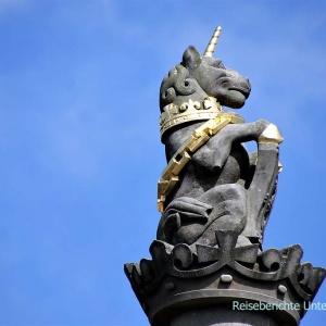 Das Einhorn ist eines der Wappentiere Schottlands ...