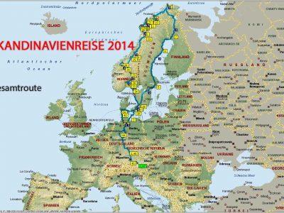 Norwegen 2014 Gesamtroute